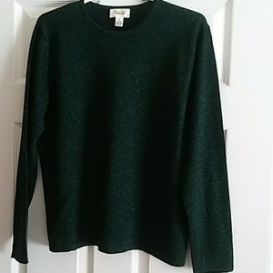 Talbots Sparkly Crewneck Pullover (forest green)